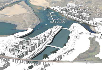 Hayle.net: aerial view of the Hayle harbour with ING development superimposed